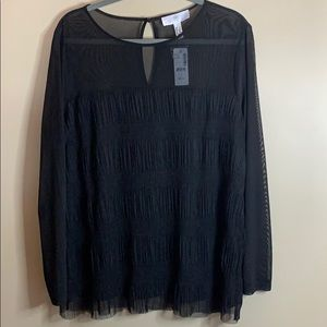 Addition Elle 2X black top with sheer BNWT